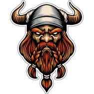 Наклейка Викинг в шлеме с рогами и рыжей бородой, фото 1