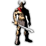 Наклейка Викинг в шлеме с мечом, фото 1