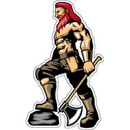 Наклейка Рыжий викинг с топором, фото 1