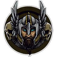 Наклейка Викинг в шлеме на фоне черепов, фото 1