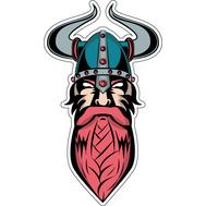 Наклейка Викинг в шлеме с рогами вверх, фото 1