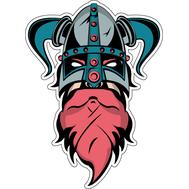 Наклейка Викинг в шлеме с рогами вниз, фото 1