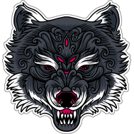 Наклейка Кучерявый серый волк, фото 1
