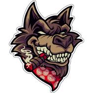 Наклейка Дерзкий волк с сигарой, фото 1