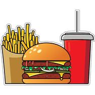 Наклейка Комбо: картошка, бургер, кола, фото 1