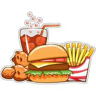 Наклейка Комбо: картогка, бургер, курица и кола, фото 1