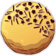 Наклейка Пончик с начинкой в желтой глазури, фото 1