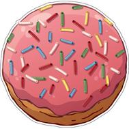 Наклейка Пончик с начинкой в розовой глазури, фото 1