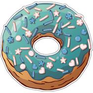 Наклейка Пончик в голубой глазури, фото 1