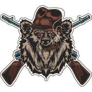 Наклейка Медведь охотник, фото 1