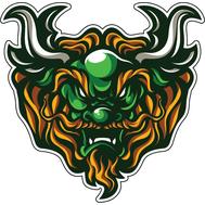 Наклейка Зеленый Дракон с рыжей бородой, фото 1