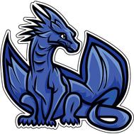Наклейка Синий Дракон с крыльями, фото 1