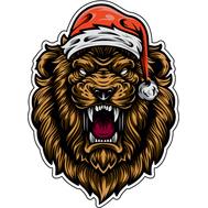 Наклейка Лев в новогодней шапке, фото 1