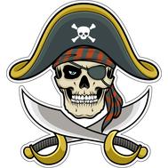 Наклейка Череп пирата в треуголке, фото 1
