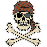 Наклейка Череп пирата в бандане, фото 1