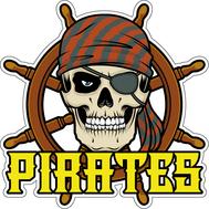Наклейка Череп пирата в бандане на фоне штурвала, фото 1