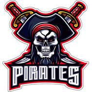 Наклейка Пиратский череп с клинками, фото 1