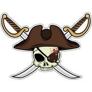 Наклейка Череп пирата в треуголке на фоне клинков, фото 1