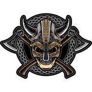 Наклейка Череп викинга в шлеме с рогами, фото 1