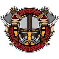 Наклейка Шлем викинга с рогами, фото 1