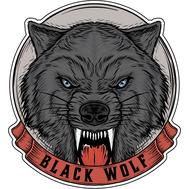 Наклейка Черный Волк, фото 1