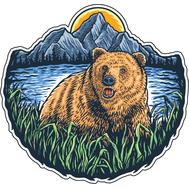 Наклейка Медведь в камышах, фото 1