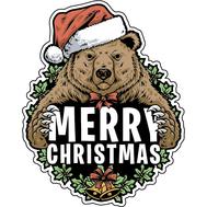 Наклейка Рождественский Медведь, фото 1