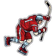 Наклейка Игрок в хоккей в красной форме, фото 1