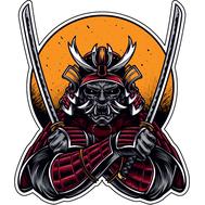 Наклейка Демон самурая с мечами, фото 1