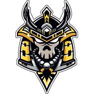 Наклейка Череп самурая в золотом шлеме, фото 1
