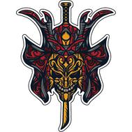 Наклейка Узорный череп самурая, фото 1