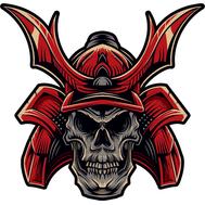 Наклейка Череп самурая в красном шлеме, фото 1