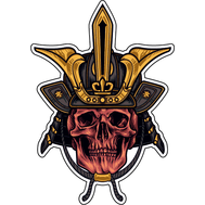 Наклейка Череп самурая в шлеме с золотой отделкой, фото 1