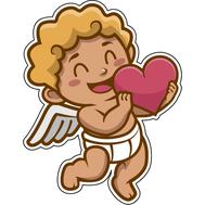 Наклейка Купидон с сердцем, фото 1