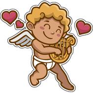Наклейка Купидон играет на арфе, фото 1