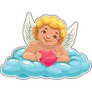 Наклейка Купидон с сердцем на облаке, фото 1