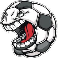 Наклейка Злобный футбольный мяч, фото 1
