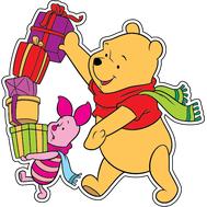 Наклейка Винни Пух и Пятачок с подарками, фото 1