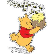 Наклейка Винни Пух убегает от пчел, фото 1