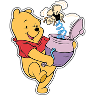 Наклейка Винни Пух с горшком, фото 1