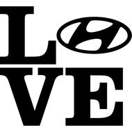 Наклейка Love Hyundai, фото 1