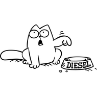 Наклейка Кот Саймона с миской, фото 1
