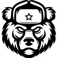 Наклейка Медведь в ушанке, фото 1