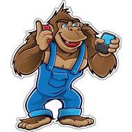 Наклейка Горилла с телефоном, фото 1