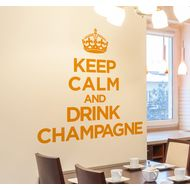 Наклейка Keep calm adn drink champagne, фото 1