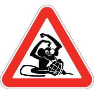 Наклейка Знак Обезьяна с гранатой, фото 1