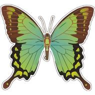 Наклейка Бабочка зеленая с коричневым, фото 1
