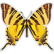 Наклейка Бабочка желтая с коричневым, фото 1