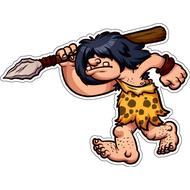 Наклейка Пещерный человек с копьем, фото 1