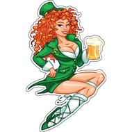 Наклейка Рыжая Девушка с пивом, фото 1
